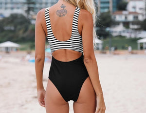 Black and White Stripe Cut Out One-Piece Swimsuit
