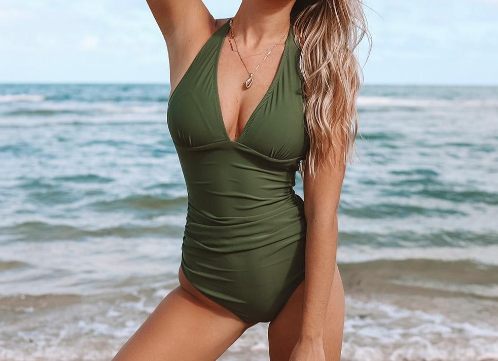 V-neck Ruched Halter One Piece Swimsuit