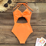 Solid Orange Cut Out Lace Up Halter One Piece Swimsuit