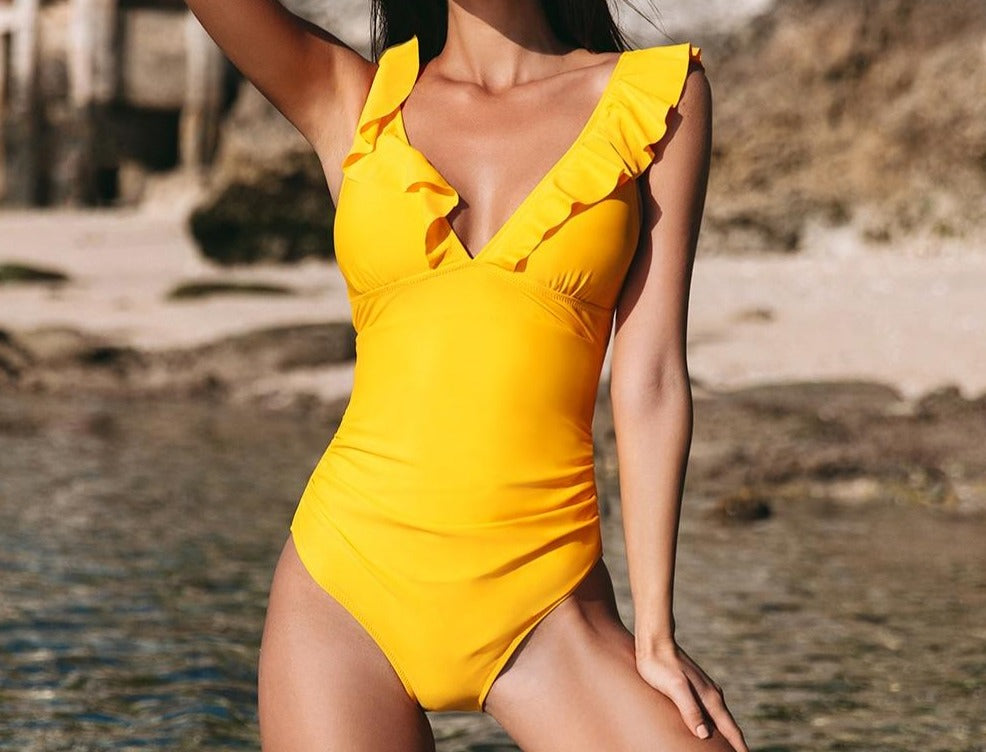 Yellow V-neck Ruffled One Piece Swimsuit