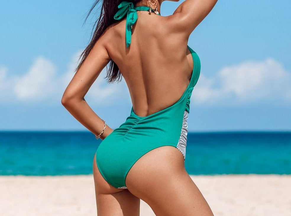 Backless Green and Striped One Piece Swimsuit