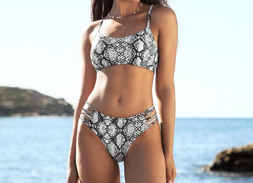 Snake Strappy Lace Up Bikini Set