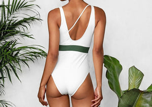 White One Piece Swimsuit With Green Belt