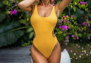 Yellow Cut Out One Piece Swimsuit