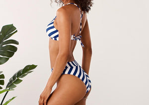 Striped Lace Up Mid-Waist Bikini Set