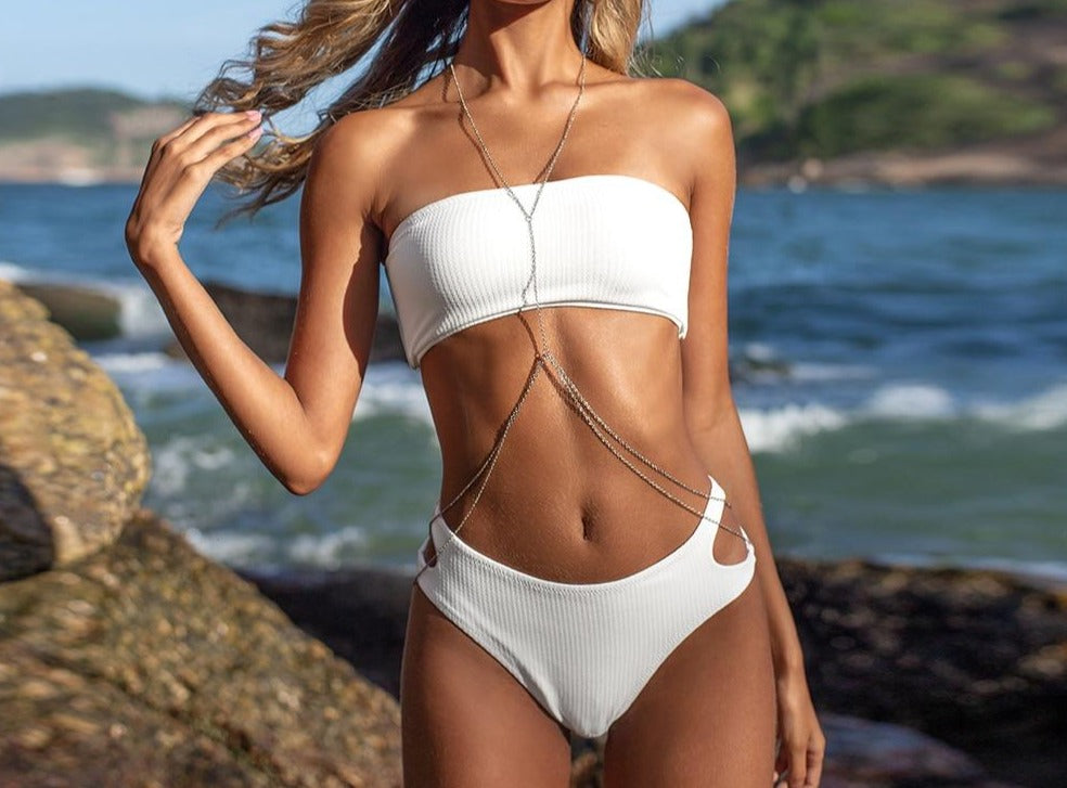Solid White High Cut Mid Waist Bikini Set