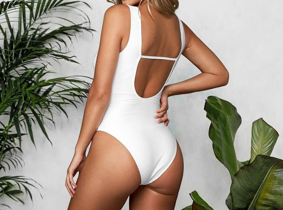 Solid White O-Ring Plunging One Piece Swimsuit