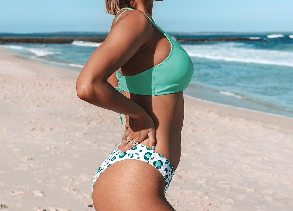 Light Green and Leopard Lace Up Bikini Set
