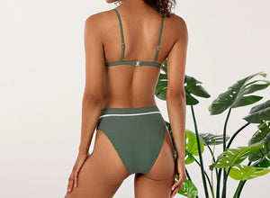 Sexy Olive Triangle High Waisted Bikini Set
