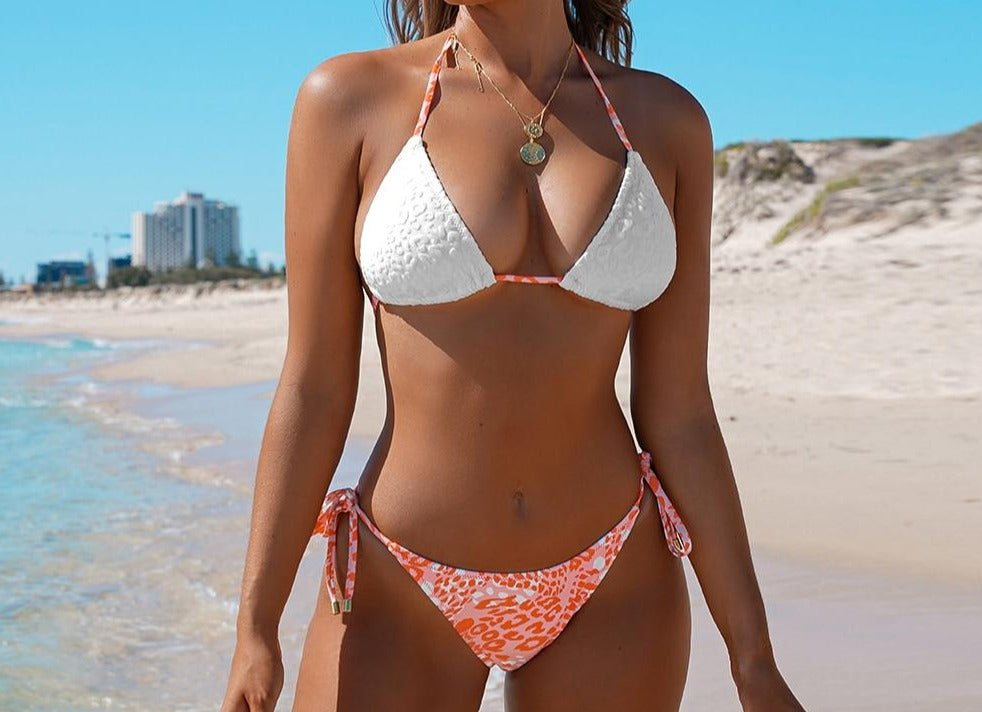 Lace Up Triangle Low-Rise Bikini Set
