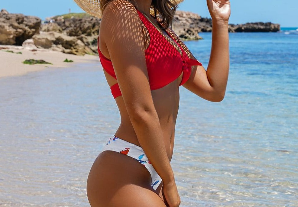 Red Knotted and Floral Bikini Set