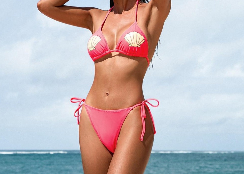 String Halter Triangle Low Waist Bikini Set