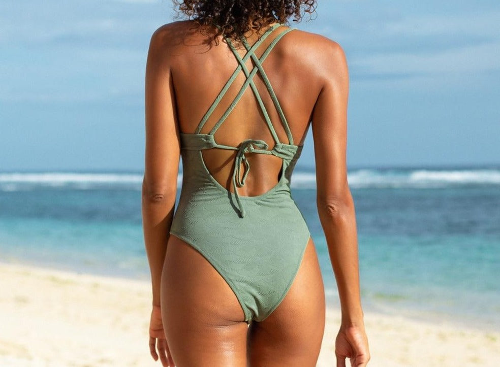 Solid Green O-Ring Double Crisscross One-Piece Swimsuit