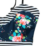 Rose Floral Garden Print One-piece Swimsuit