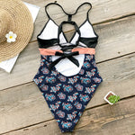 Pink And Navy Print High Leg One-Piece Swimsuit
