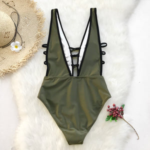 Deep V-neck Cut Out One-piece Swimwear