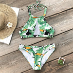 Green Leaves And Parrots Halter Bikini Sets