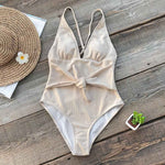 Deep V-Neck Tie-Waist One-piece Swimsuit