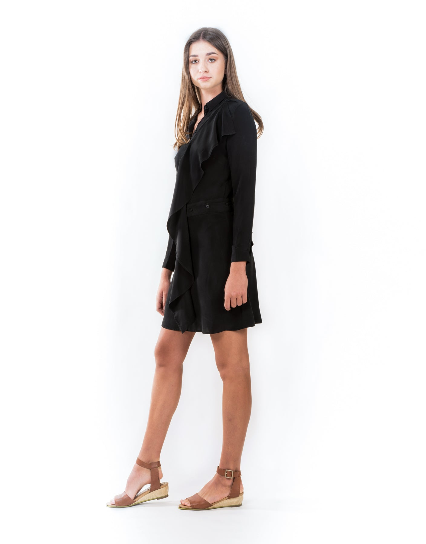 The Ashley Black Silk Dress - ISLE & ROW