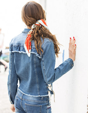 Denim Laced Up Jacket - ISLE & ROW