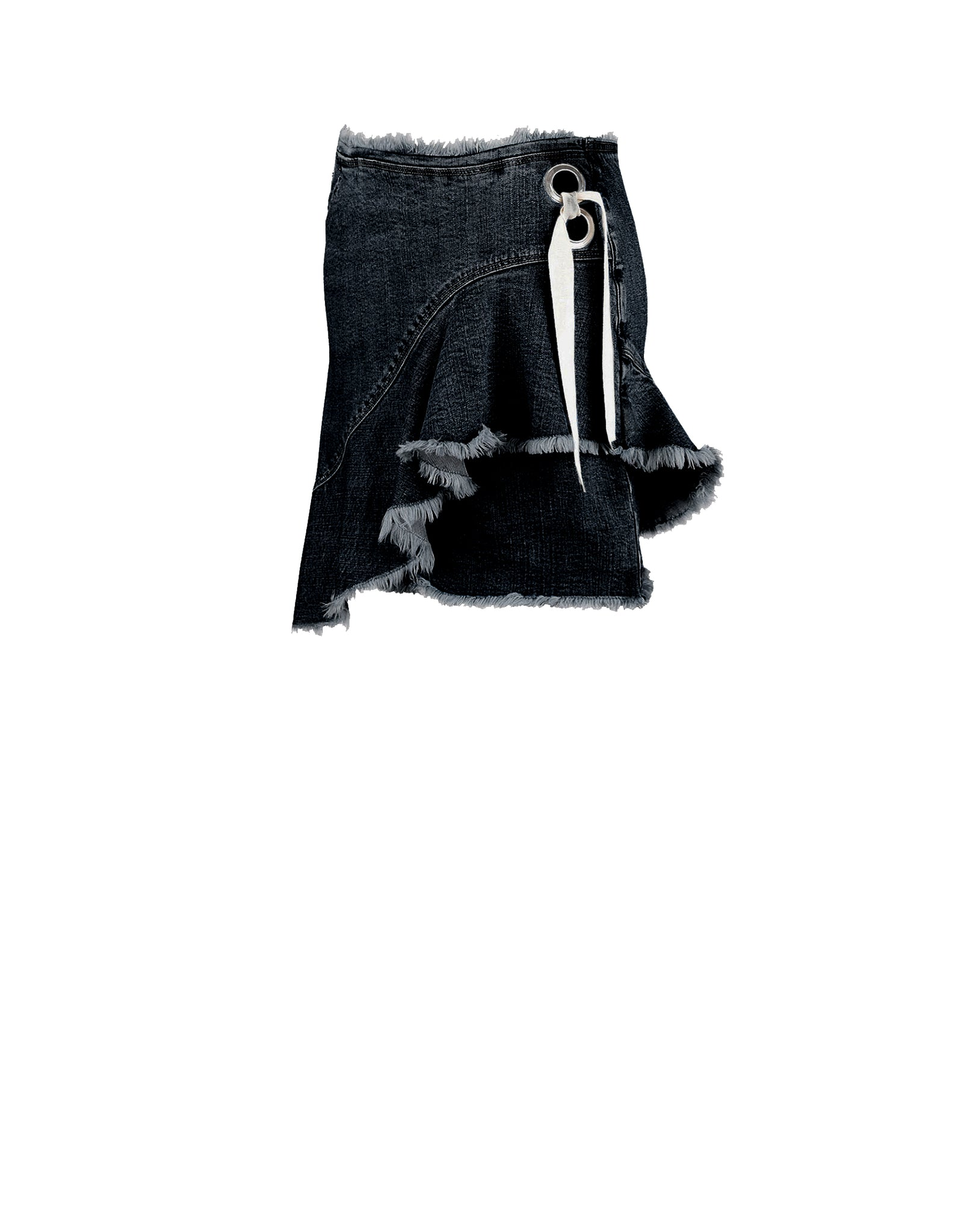 Denim Ruffle Skirt Black - ISLE & ROW