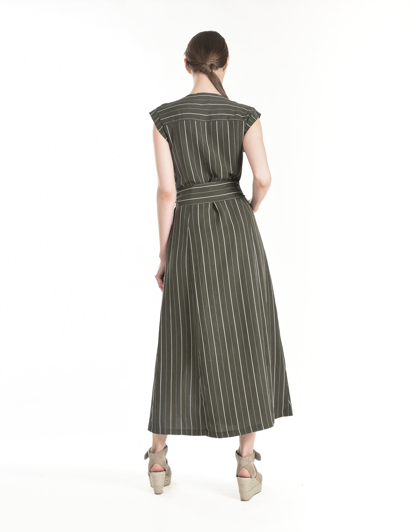 Gretta Dress in Khaki Stripe