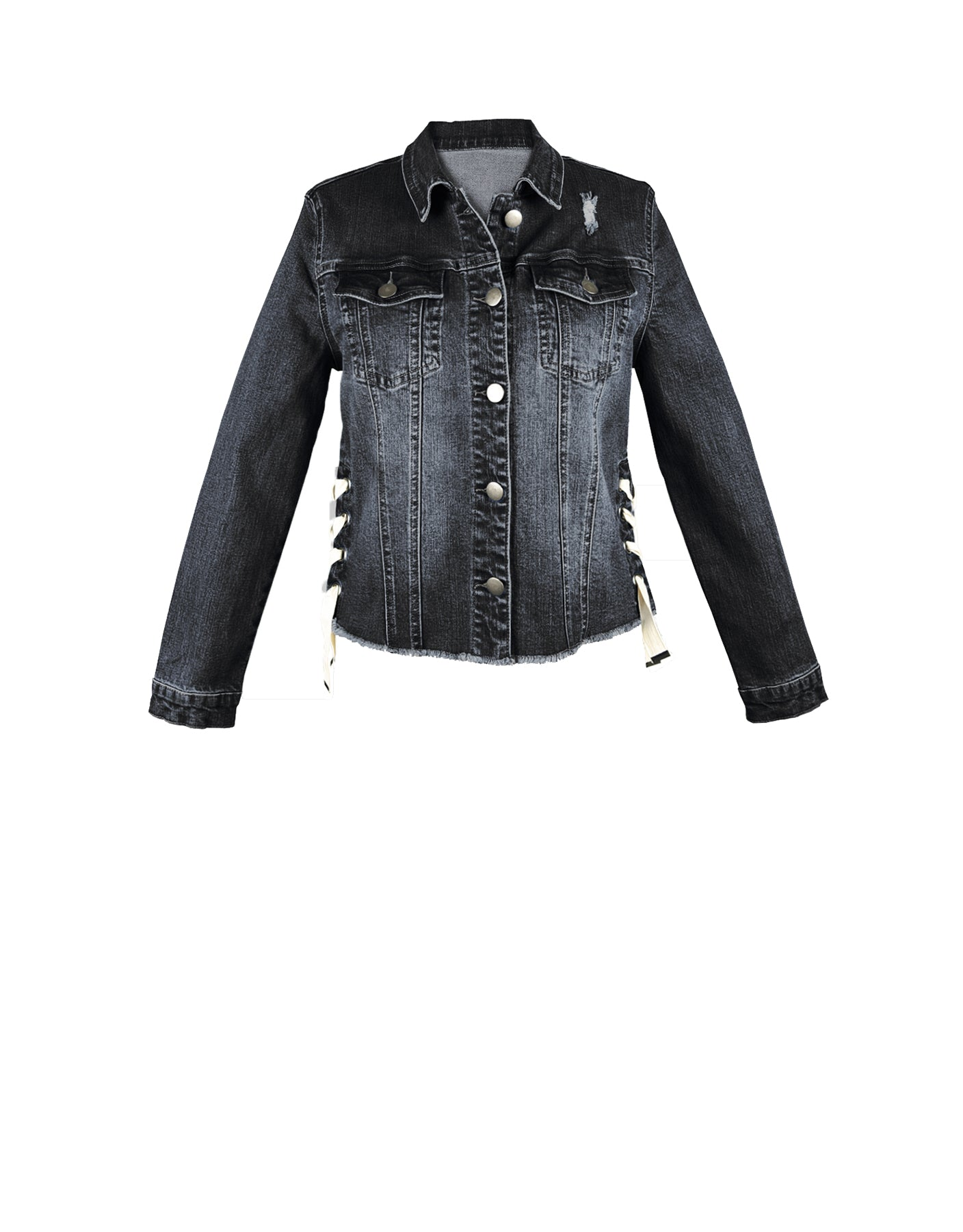 Denim Laced Up Jacket Black - ISLE & ROW
