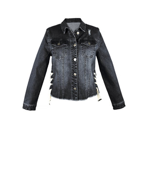 Denim Laced Up Jacket Black