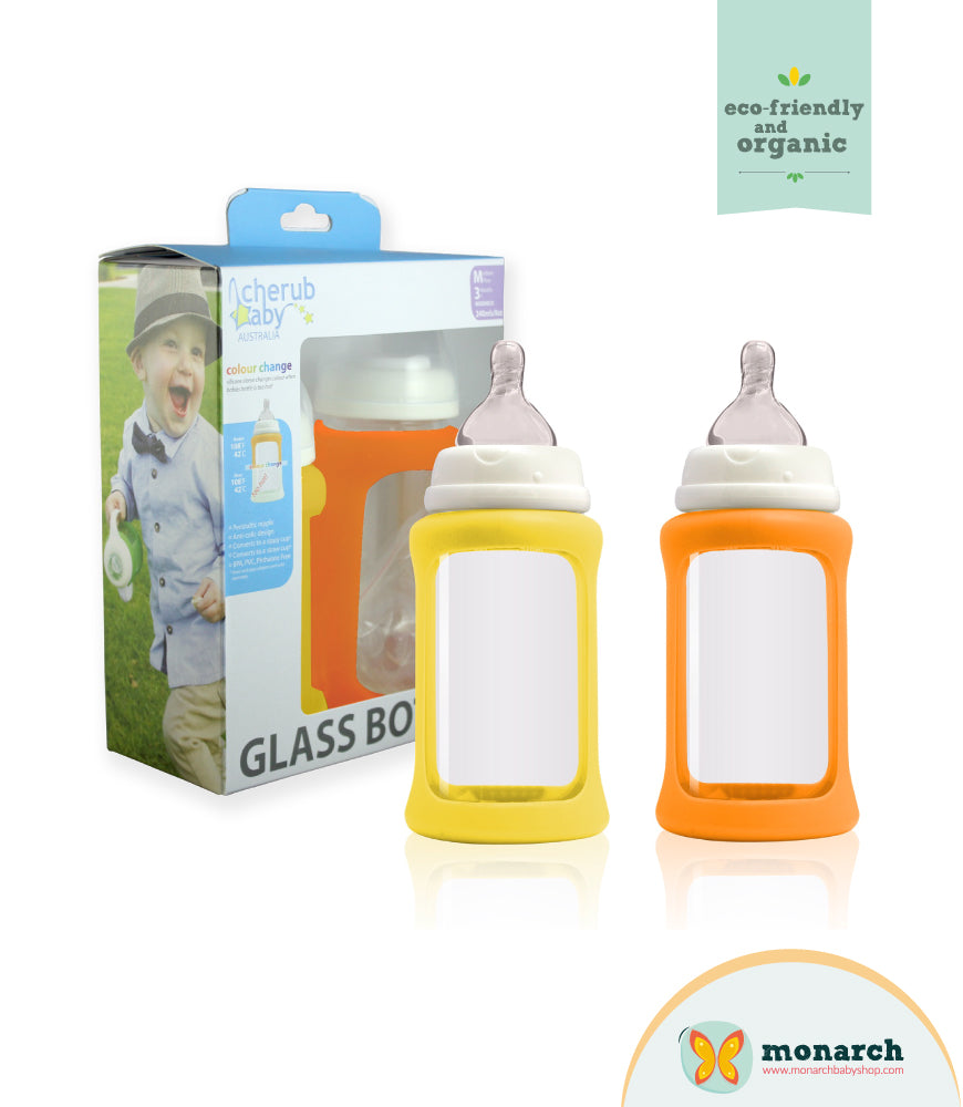 Kit Doble de Teteros de Vidrio 240ml/8oz Amarillo y Naranja
