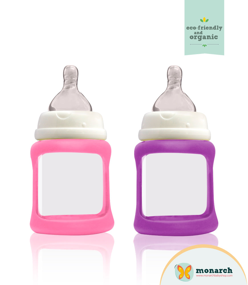 Kit Doble de Teteros de Vidrio 150ml/5oz Fucsia y Morado