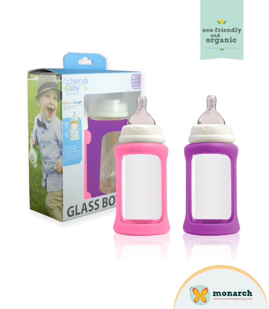 Kit Doble de Teteros de Vidrio 240ml/8oz Fucsia y Morado