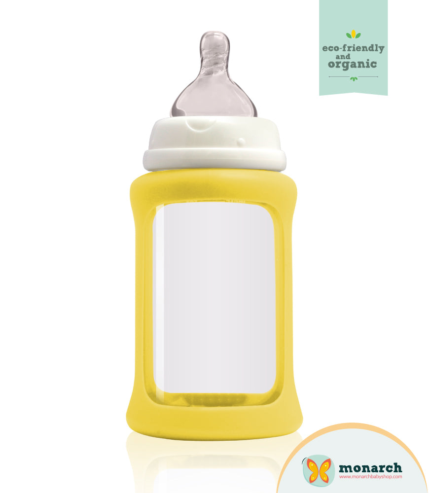 Tetero de Vidrio 240ml/8oz color Amarillo