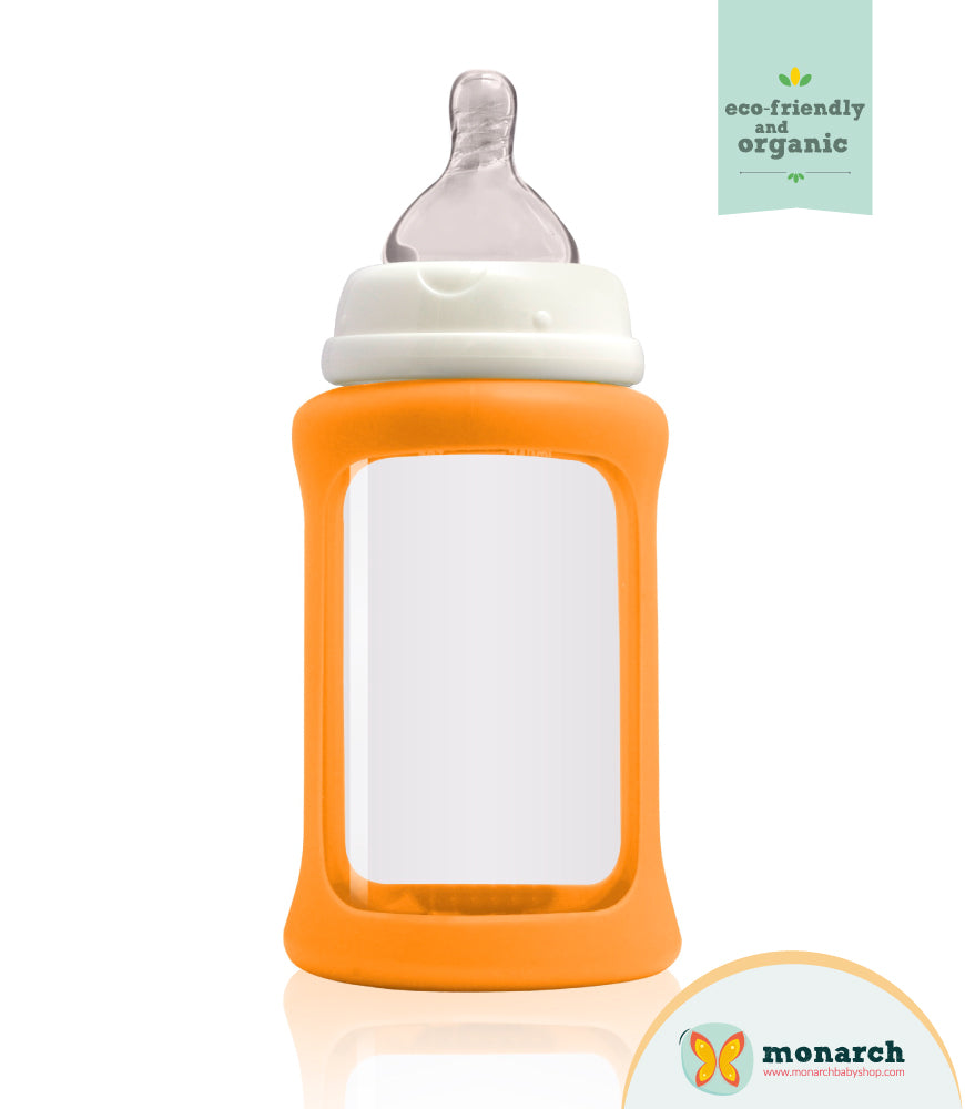 Tetero de Vidrio 240ml/8oz color Naranja