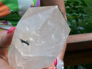 "Quartz Crystal Large 6 lb. 14 oz. Generator ~ 14"" Tall ~  Big Tower, Reiki Display ~ Stunning Black Sand Phantoms ~  Red Ghost Inclusions"