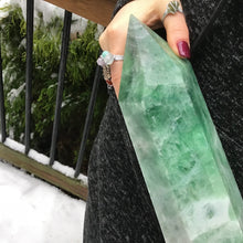 "Load image into Gallery viewer, Green Fluorite Crystal Quartz Point Large 15 lb. 6 oz. Generator ~ 15"" Tall Free Standing ~ White Swirls ~ Big Polished Tower Fast Shipping"