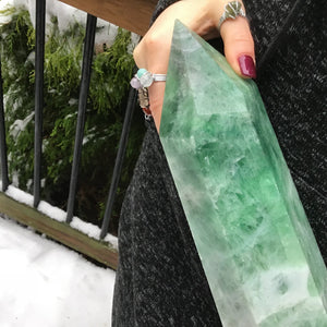 "Green Fluorite Crystal Quartz Point Large 15 lb. 6 oz. Generator ~ 15"" Tall Free Standing ~ White Swirls ~ Big Polished Tower Fast Shipping"