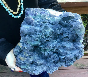 "Fluorite Crystal Large 22 lb. Cluster ~ 12"" Long ~ Purple Green Blue Natural Matrix ~ Big Sacred Geometry Formation ~ Fast & Free Shipping"