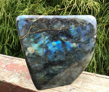 "Load image into Gallery viewer, Labradorite Free Standing Crystal Large 3 Lb. 15 oz. Tower ~ 5"" Tall ~ Flashiest Electric Blue ~ Super High Flash Quality ~ Epic Display"