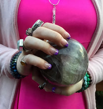 "Load image into Gallery viewer, Large Fluorite 3 Lb. Crystal Ball ~ 3 1/2"" Wide ~ Rainbow Purple Haze Color ~ Massive Polished Sphere ~ Big Beautiful Reiki Altar, Display"