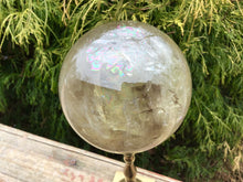 "Load image into Gallery viewer, 2 lb. 9 oz. ~ Large  Smokey Citrine Crystal Ball ~ 3 1/2"" Wide ~ Golden Sunshine Yellow Big Polished Sphere ~ Rainbows Silver Flashes Galore"