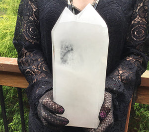 "Twin Flame Double Point Clear Quartz Crystal 6 lb. 14. oz. ~ Generator ~ 10"" Tall ~ Beautiful Reiki, Altar, Display ~ Free Standing Tower"