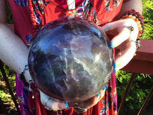 "Rainbow Purple Fluorite Large 15 Lb. 13 oz. Crystal Ball ~ 6"" Wide ~ Massive Polished Sphere ~ Beautiful  Reiki, Altar, Meditation Display"