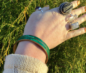 Vintage Malachite Bangle Bracelet ~ Hand Made In Africa ~ Beautiful Polished Stone  ~ Stunning ~ Gorgeous Green Mineral Crystal Jewelry