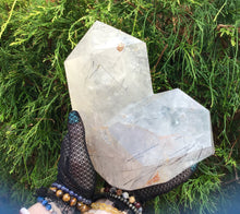"Load image into Gallery viewer, Tourmaline Clear Quartz Crystal Large 9 Lb. 7 oz. Generator ~ 8"" Tall Tower Pillar ~Black Phantom ~Tourmilated Hairs ~ Sparkling Inclusions"