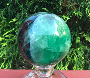 "Rainbow Fluorite Green / Blue Quartz Large 2 lb. 6 oz. Crystal Ball ~ 3 1/2"" Wide Sphere ~ Reiki, Altar Display ~ Fast & Free Shipping"