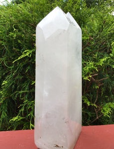 "Clear Quartz Crystal Twin Flame Large 6 lb. 15 oz. Generator ~ 9"" Tall ~ Clear Double Points Sparky Rainbow Inclusions ~ Fast Free Shipping"