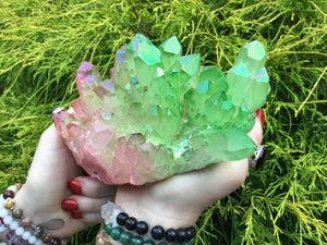 "Angel Aura Quartz Crystal Large 2 Lb. 8 oz. Cluster ~ 7"" Long ~ Electric Pink & Radiant Green Colors ~ Rainbow Iridescent Sparkling Points"