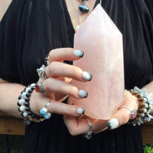 "Load image into Gallery viewer, Rose Quartz Crystal Large 2 Lb. Generator ~ 6"" Tall ~ Swirling Pink & White Colors ~ Big Reiki, Feng Shui, Altar, Tower, Pillar Display"