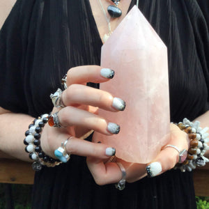 "Rose Quartz Crystal Large 2 Lb. Generator ~ 6"" Tall ~ Swirling Pink & White Colors ~ Big Reiki, Feng Shui, Altar, Tower, Pillar Display"