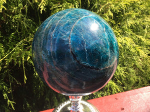 "Deep Blue Apatite Large 8 lb. 9 oz. Crystal Ball ~ 5"" Wide ~ Big Sparkly Polished Sphere ~ Beautiful Reiki, Altar Décor, Feng Shui Display"